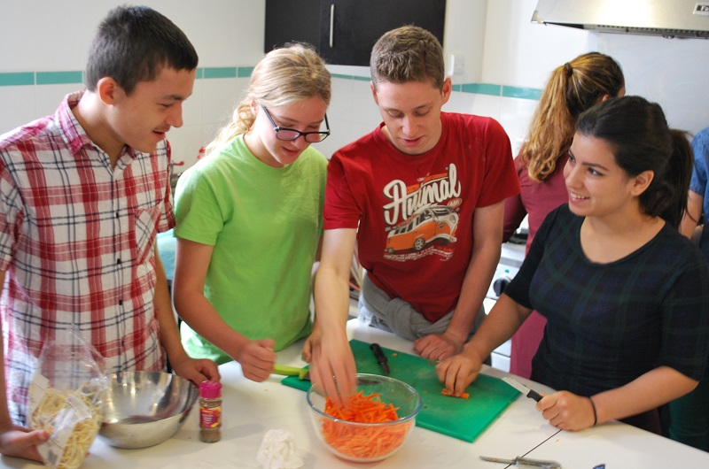 Camden Summer Uni cookery students (L-R) Joe O'Connor, 16, Betty Thesmann, 13, James Millett, 17, and Claudia Garcia, 16.