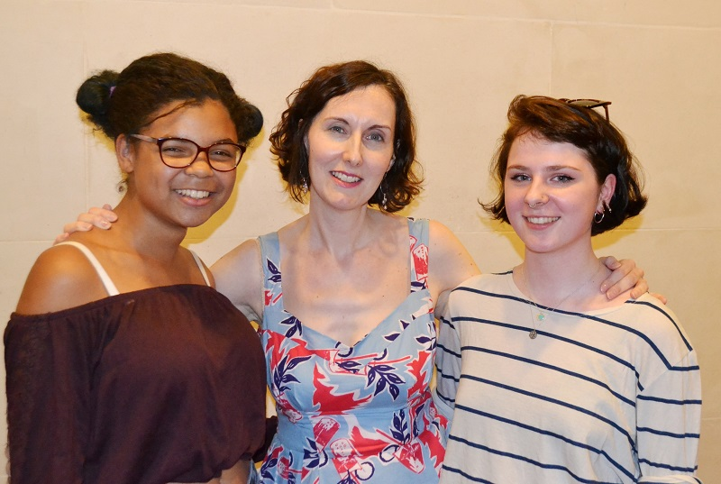 Summer Uni film tutor Suzanne Cohen (centre) with Youth Health Champions from Central YMCA at the British Museum screenings - Aug 2015