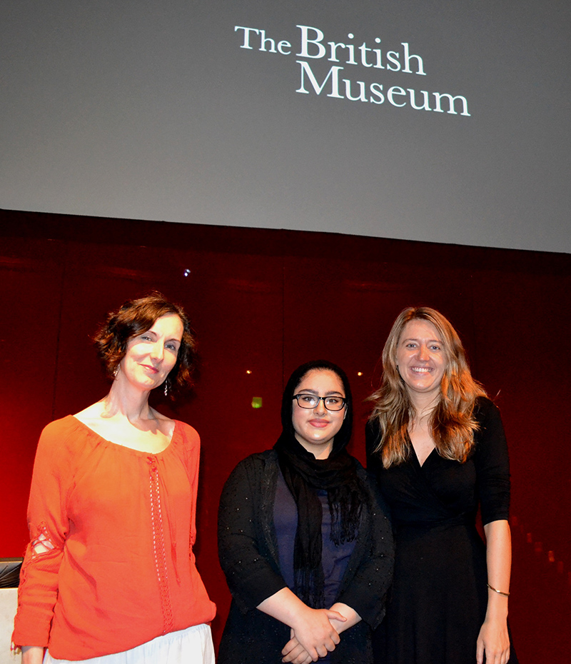 Camden Summer University film tutor Suzanne Cohen with the Deputy Youth MP Saba Asif and Cllr Georgia Gould at the British Museum Film Show